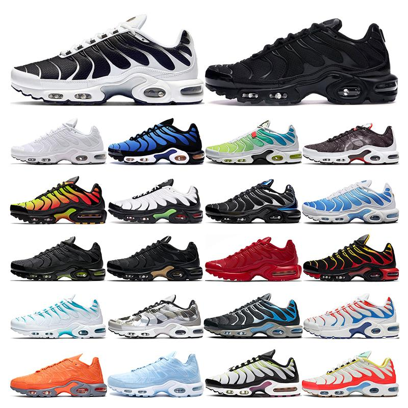 2020 Plus Tn Big Size 13 mens running shoes for women triple white black fly knit run utility CPFM Catus Jacks Sports Shoes 36-47, White;red