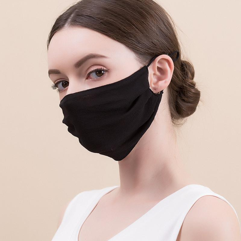 Silk Fashion Face Mask Dustproof Masks Breathable Ultra Thin Sunscreen Lady Masks Reusable Protective Mask DHL