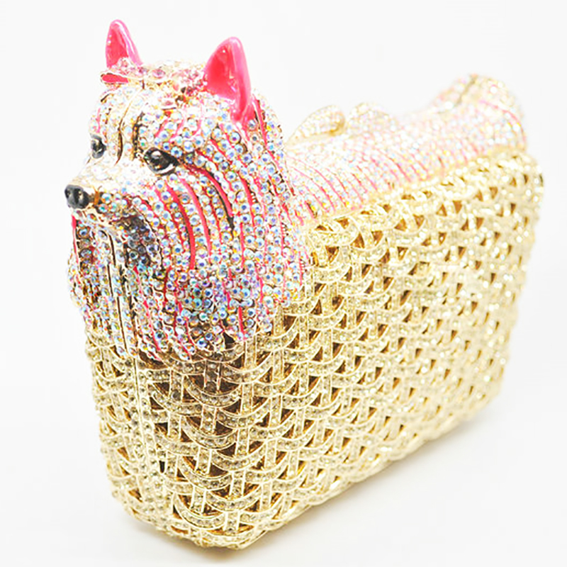 Bags for Women Multicolored Doggy Clutch Minaudiere Evening Bags Women Crystal Wedding Bag Cocktail Dog Clutch Party Handbag
