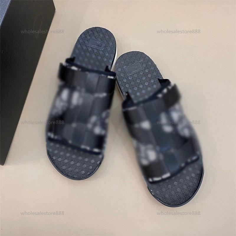 2021 New Fashion Men BLACK ALPHA SANDAL IN OBLIQUE JACQUARD summer Men slippers nylon bands comfortable rubber sole scuffs size 38-45