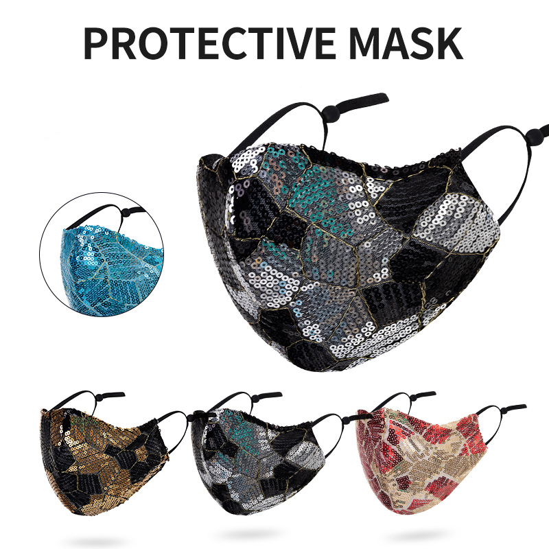 DHL Shipping Party Sequin Mask Breathable Washable Reusable Cloth Face Masks Adjustable Ear Loops Dustproof Mouth Cover Kimter-B328F