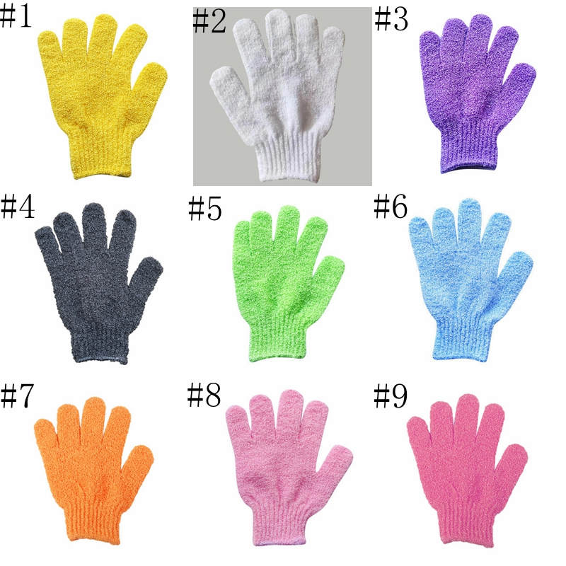 Shower Bath Gloves Five Finger Shower Towel Spa Bath Gloves Body Massage Cleaning Scrubber Candy Colors Bath Towel BT683