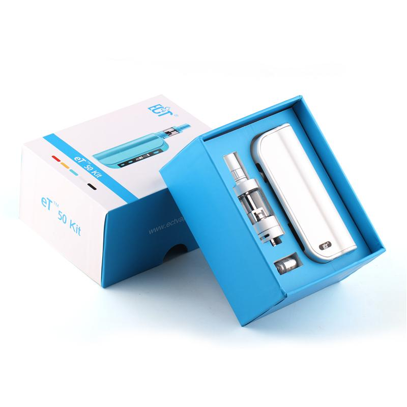 Authentic ECT ET 50 Kit VW 50W Mod 2200mah ET50 Battery 2.5ml mini fog airflow control atomizers Gift Box 0268007-1