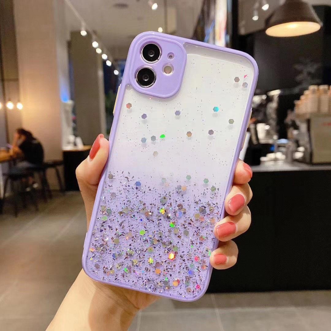 Bling Foil Glitter Hard PC+TPU Case For Iphone 12 Mini 11 Pro Max XR XS MAX X 8 7 6 Star Gradient Transparent Confetti Sequin Flake Cover