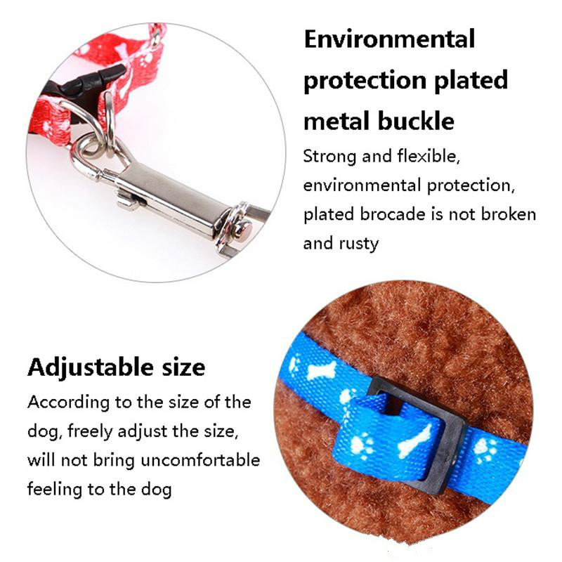 Dog Harness Leashes Nylon Printed Adjustable Pet Dog Collar Puppy Cat Traction rope Pet Necklace Collar FF39