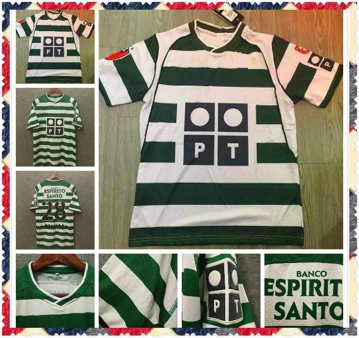#28 C.RONALDO Sporting Lisbon retro 2001 2002 soccer jerseys 01 02 Vintage Maillot QUARESMA Camisa de futebol M.NICULAE football shirts