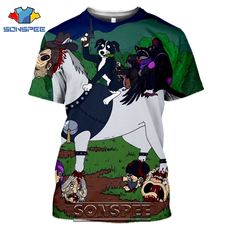 SONSPEE 3D Print Mr Pickles T-shirts Men Women Casual Harajuku Short Sleeve Streetwear Hip Hop Anime Satan Evil Tees Tops Shirt (2)