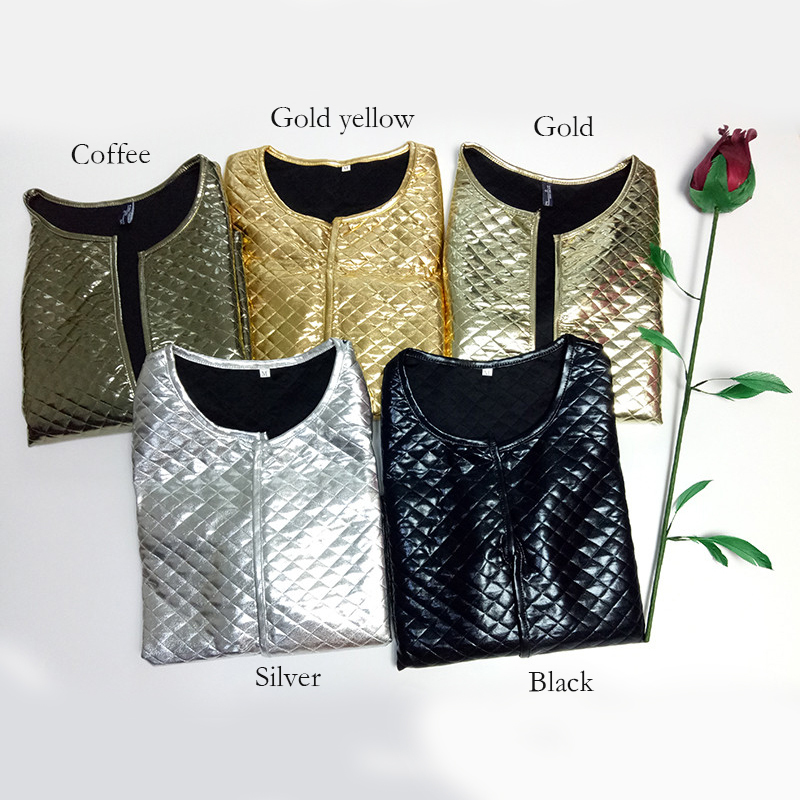 New Fashion Women J Lozenge Gold Sequins Short Jackets Three Quaters Sleeves Outwear Coats Female Casual Jackets Plus Size (1)