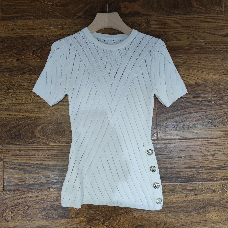 Milan Runway T-Shirt 2020 Spring Summer O Neck Panelled Women's T-Shirt Pullover Women Designer T-Shirt 0417-30