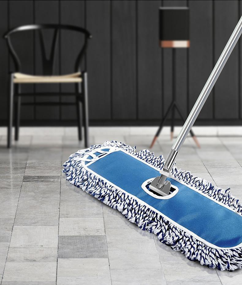 Ten Sets of Flat Mop Large 60cm Dust Push Blue and White Mop Cotton Yarn Mop Household Commercial Aluminum Alloy Rod Retractable