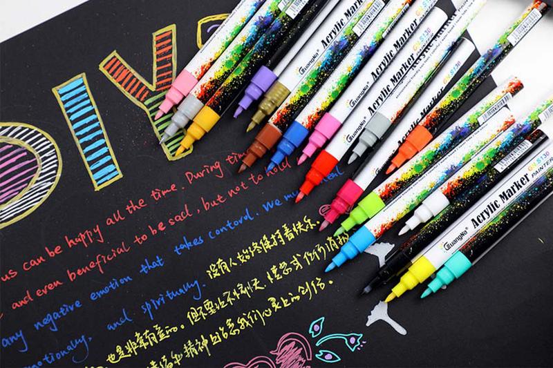 18 ColorsSet 0.7mm Acrylic Paint Marker pen for Ceramic Rock Glass Porcelain Mug Wood Fabric Canvas Painting Detailed Marking (33)