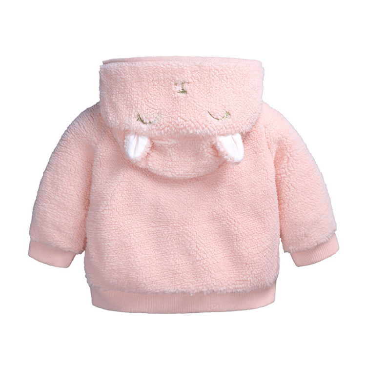 Pink hooded baby coat cute cartoon girls outfits (2)