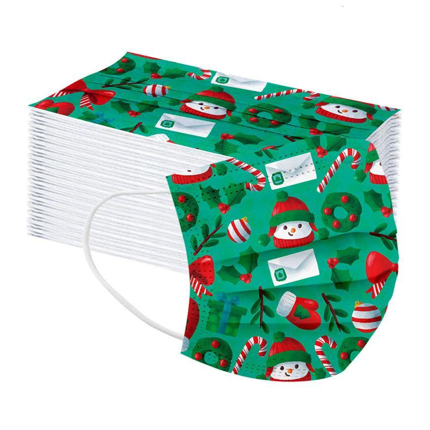 Christmas face mask Children`s Santa Snowman Gift Print designer face masks disposable Christmas print kids men women fashion facemask