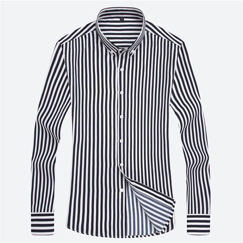 5XL Plus Large Size Striped Shirts Men Long Sleeve Casual Autumn Spring Classic Male Shirts Non-Iron Dress Shirts Man Muls Brand 10