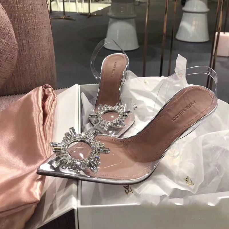 Perfect Official Quality Amina Shoes Begum Crystal-embellished Pvc Slingback Pumps Muaddi Restocks Begum Pvc Slingbacks 10cm High Heel c03