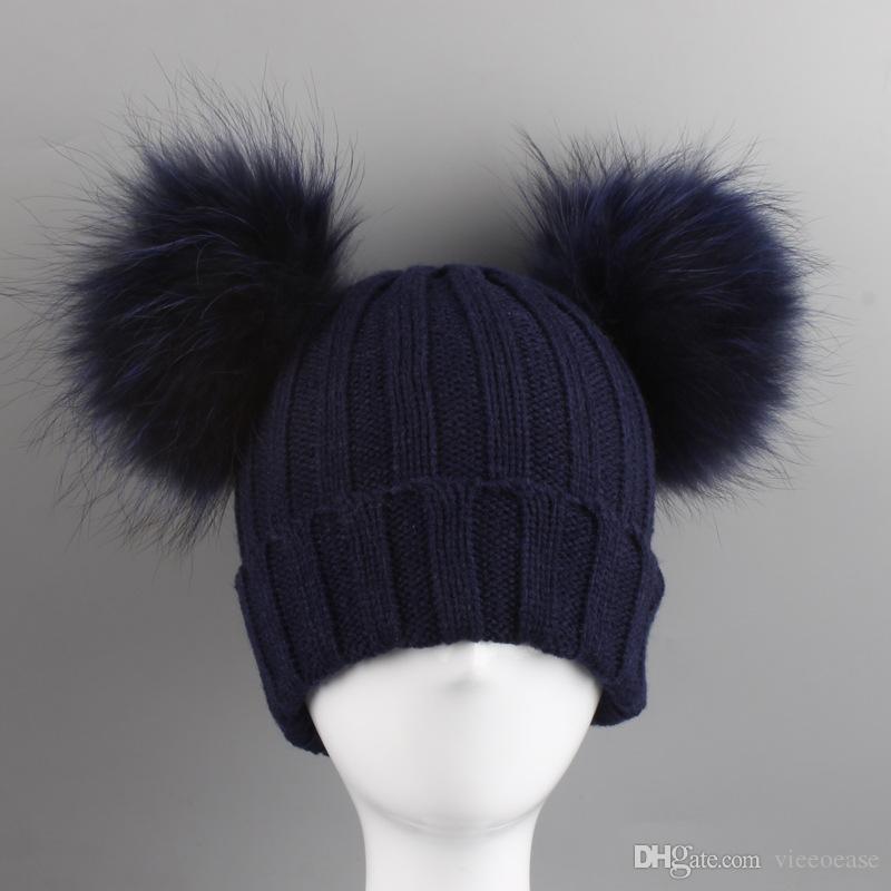 Vieeoease Boys Girls Hats 2019 Cute Raccoon Ball Caps Europe and America Fashion Knitting Hats CC-212