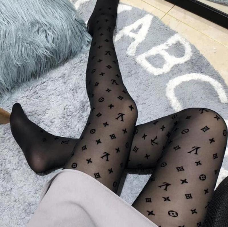 2020 new women Tights Black small letters Pantyhose sexy thin jacquard romper silk stockings female summer sexy socks lace sock