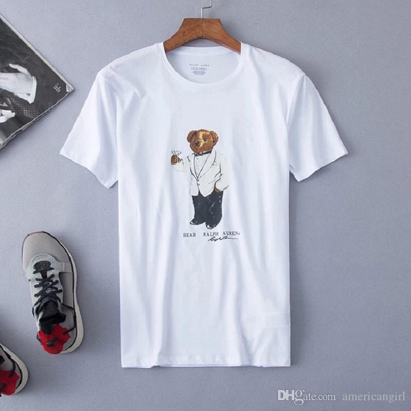 High quality designer 100% cotton short sleeve casual loose funny cool tee shirts with USA bear pattern printing