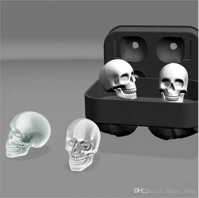 Whisky ice cube Silicone Bones Skull Ice Cube Mold Kitchen Chocolate Tray Silicone Cake Candy Mold Cooking Tools Top Quality