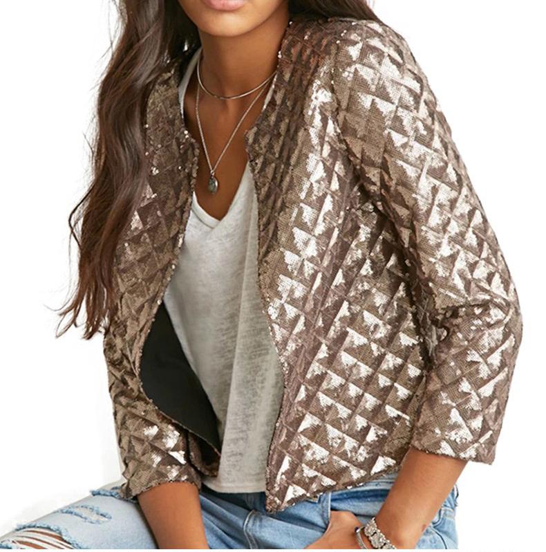 new European and American women golden brown jacket rhombus full sequins jacket wild self-cultivation sleeves short jacket (2)