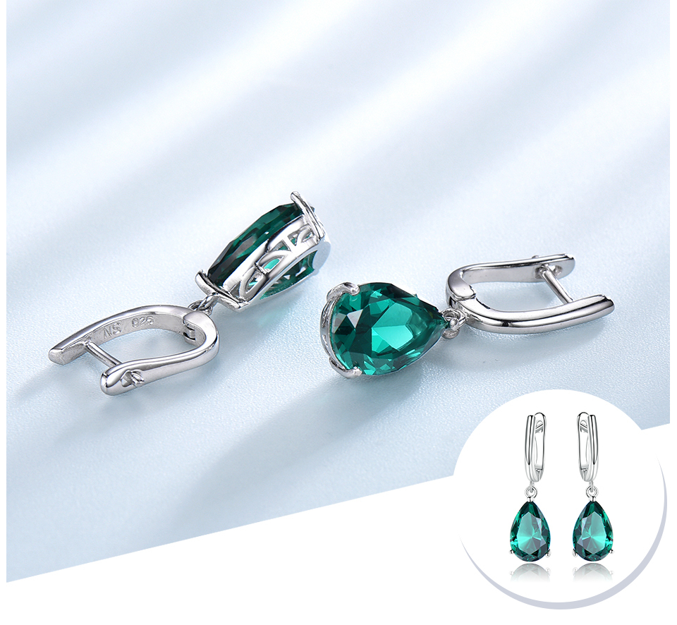 UMCHO Emerald 925 sterling silver earring for women EUJ094E-1-pc (4)