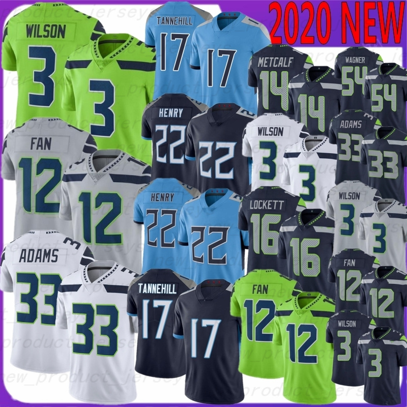 3 Russell Wilson 16 Tyler Lockett 12 Fan Football jerseys 54 Bobby Wagner 17 Ryan Tannehill 22 Derrick Henry 33 Jamal Adams 14 DK Metcalf