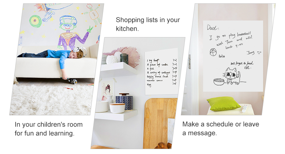 930_05 DIY Whiteboard Sticker Dry Erase Self-adhesive White Board Removable Drawing Writing Message Board For Office School Home