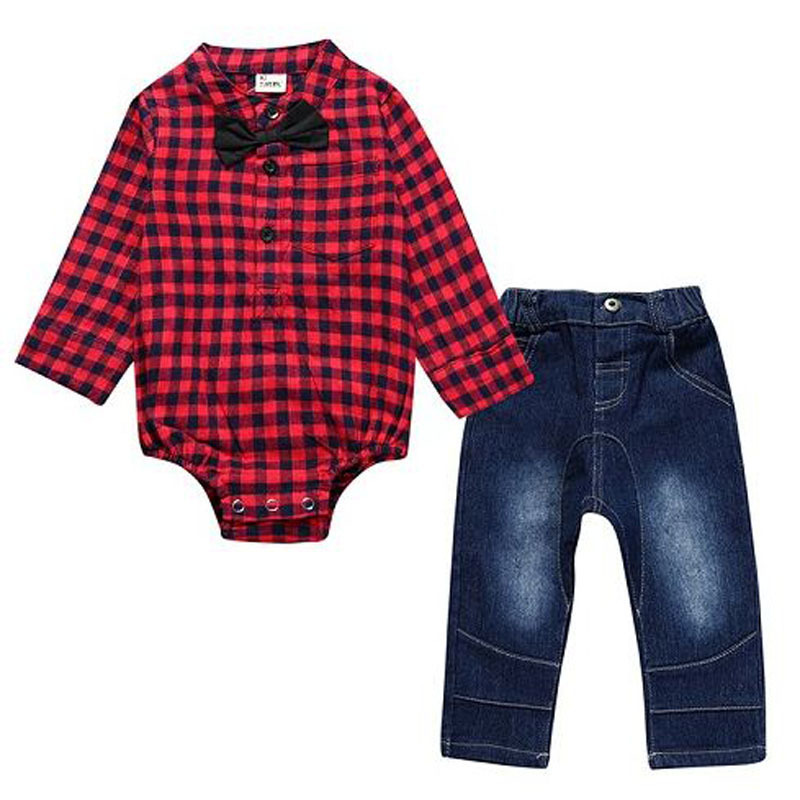 spring autumn baby boy clothes baby boy plaid rompers+jeans clothing set children gentleman suit red blue