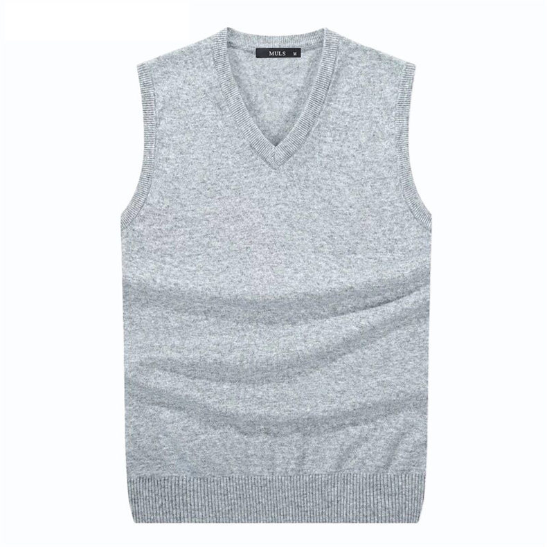 4Colors Men Sleeveless Sweater Vest Autumn Spring 100% Cotton Knitted Vest Sweater Basic Male Classic V neck Tops New M-3XL-02