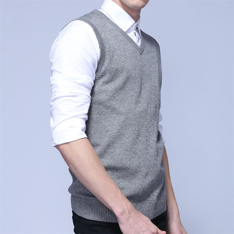 4Colors Men Sleeveless Sweater Vest Autumn Spring 100% Cotton Knitted Vest Sweater Basic Male Classic V neck Tops New M-3XL-06