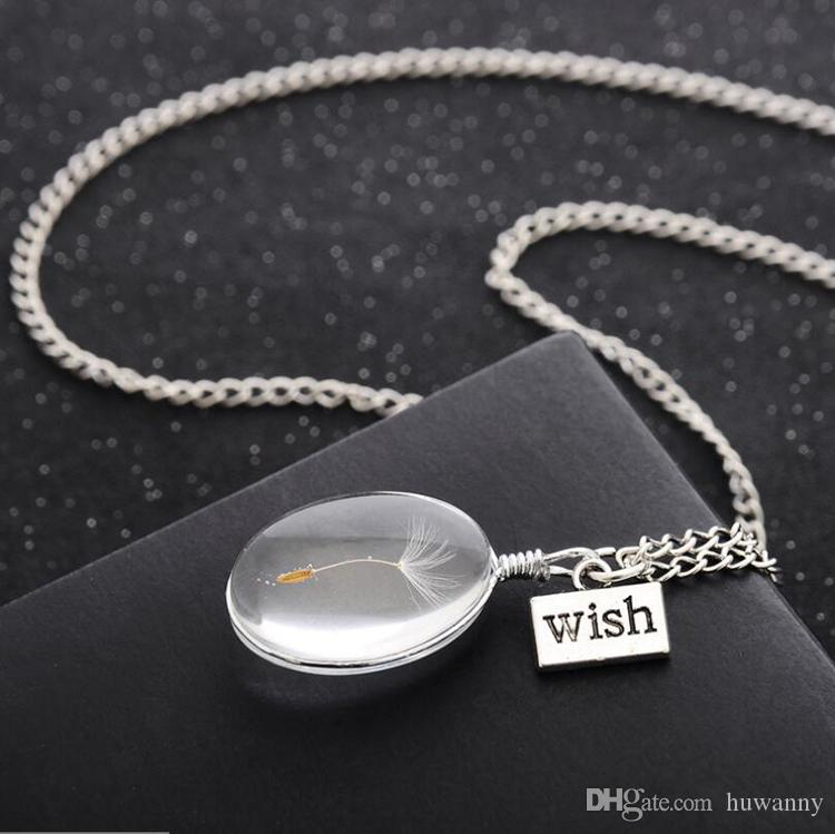 Necklaces Wish Pendant Necklace for Girs Real Dandelion Crystal Round Pendants Silver Chain Necklaces For Women Jewelry Wholesale 0433WH