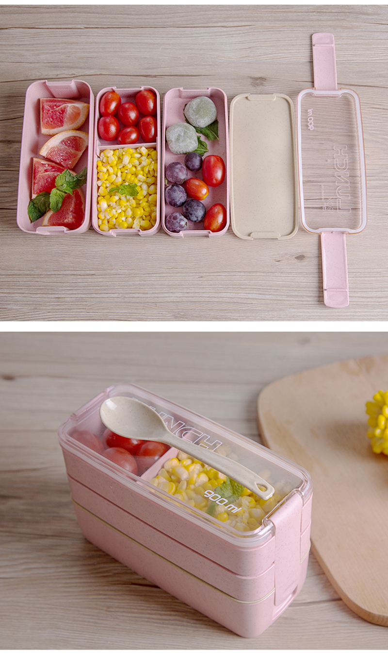 TUUTH 3 Layer 900ml Lunch Box Wheat Straw Fruit Salad Rice Bento Boxe Microwave Food Storage Container for School Office Fitness B8