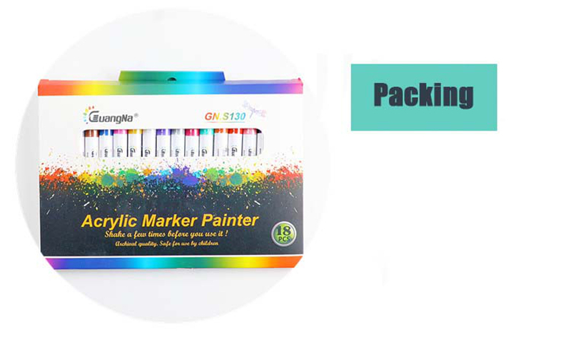 18 ColorsSet 0.7mm Acrylic Paint Marker pen for Ceramic Rock Glass Porcelain Mug Wood Fabric Canvas Painting Detailed Marking (41)