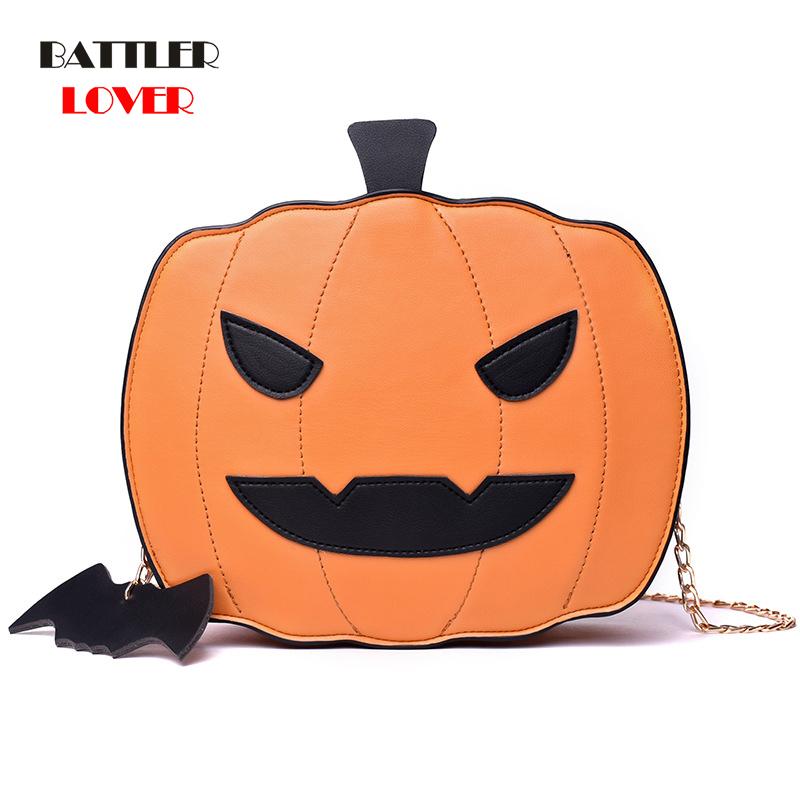 Shoulder Bag Gift Pumplin Lamp Handbag Fashion For Halloween 2020 Leather Women Crossbody Flap No Pocket Cartoon Printing Single