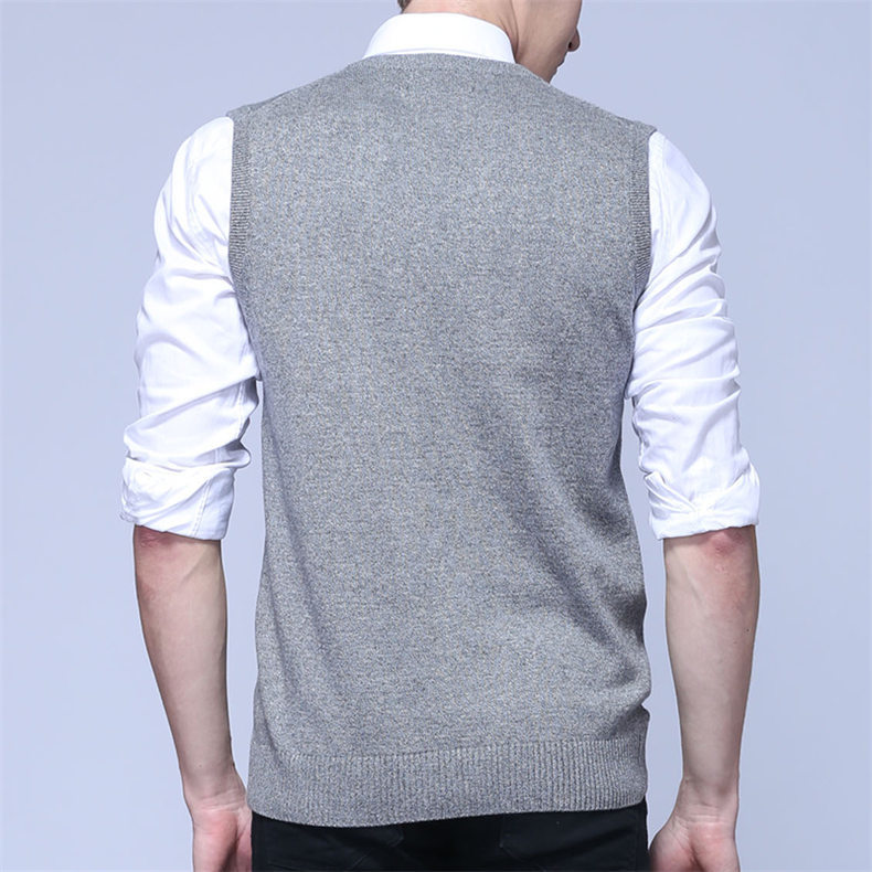 4Colors Men Sleeveless Sweater Vest Autumn Spring 100% Cotton Knitted Vest Sweater Basic Male Classic V neck Tops New M-3XL-07