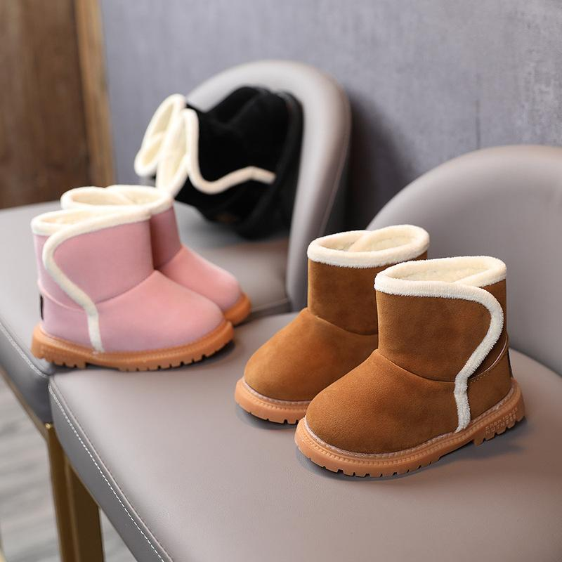 Csfry Toddler Girls Leather Faux Fleece Warm Snow Boots