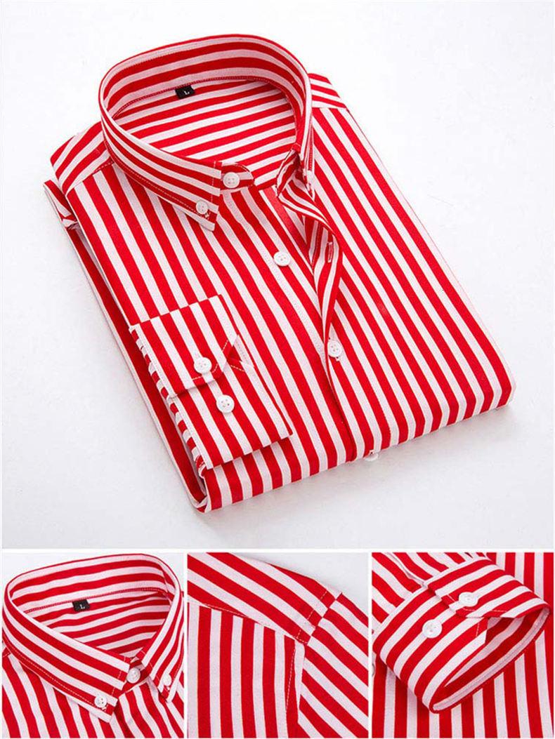 5XL Plus Large Size Striped Shirts Men Long Sleeve Casual Autumn Spring Classic Male Shirts Non-Iron Dress Shirts Man Muls Brand 8