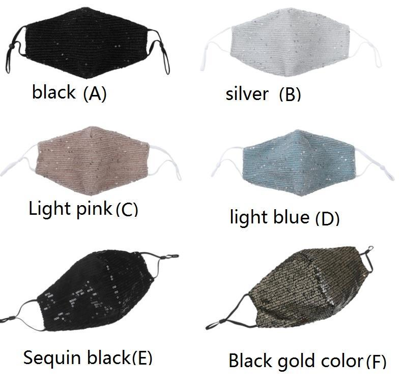 Sequin Safe Breathing Mouth Masks Collapsible Respirator Anti Dust Breathable Face Mask Multi Color Fashion Design HH9-3032