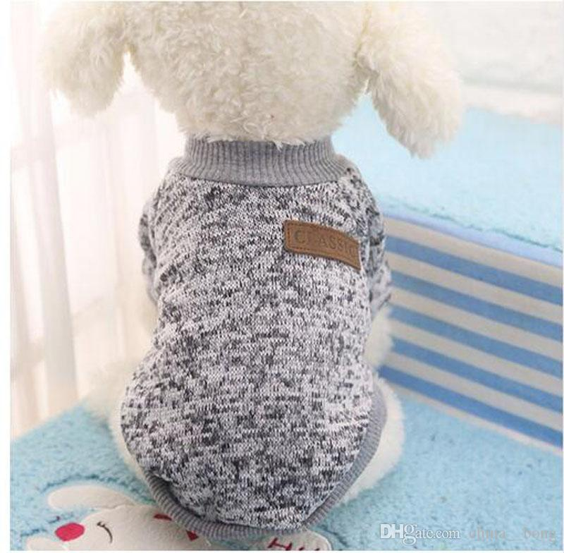 DHL 2017 Classic Warm Pet Dog Clothes Puppy Outfit Pet Jacket Coat Winter Clothes Soft Sweater Clothing For Small Dogs Chihuahua XS-2XL