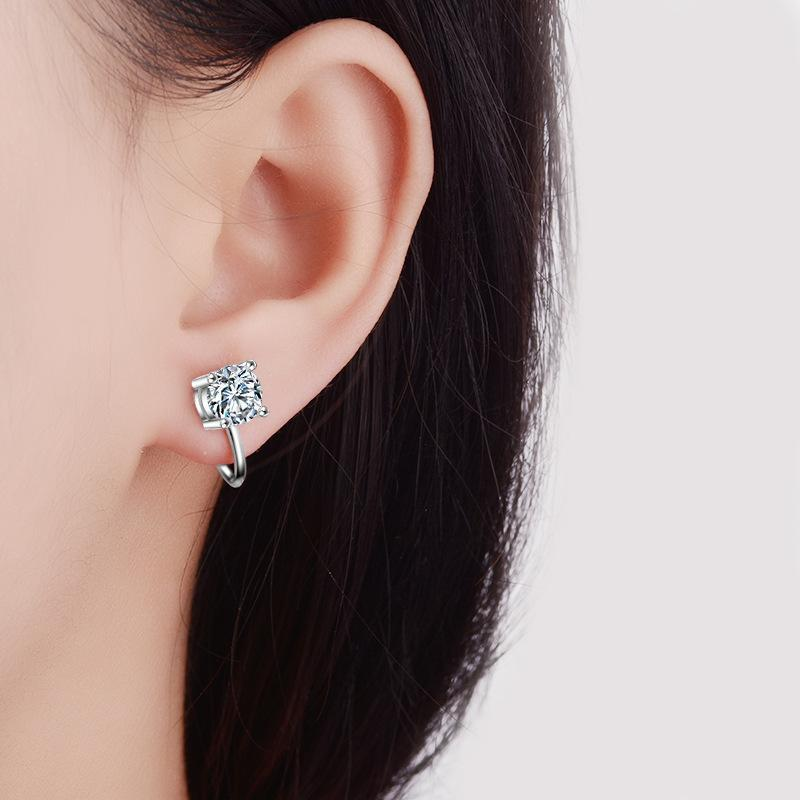 Shiny Ear Clip On Earrings Without Piercing Heart Ear Cuff For Women Inlay CZ Crystal Fashion Jewelry Party Wedding Gift