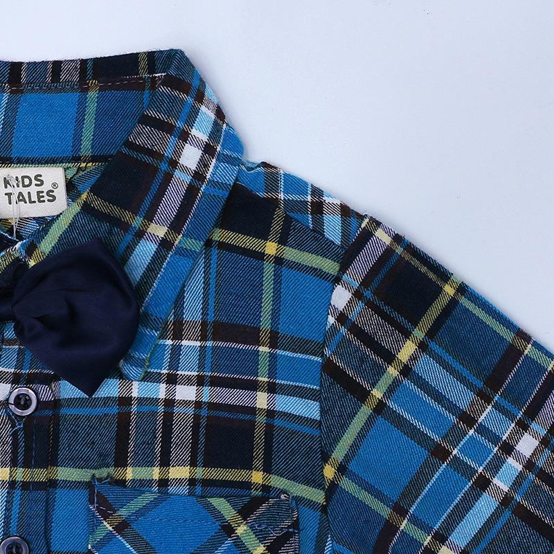 Boys Clothing Set Autumn Gentleman Suit Kids Long Sleeve Bow Tie Plaid Shirt+Overalls Children Gentleman Boy Outfits Set