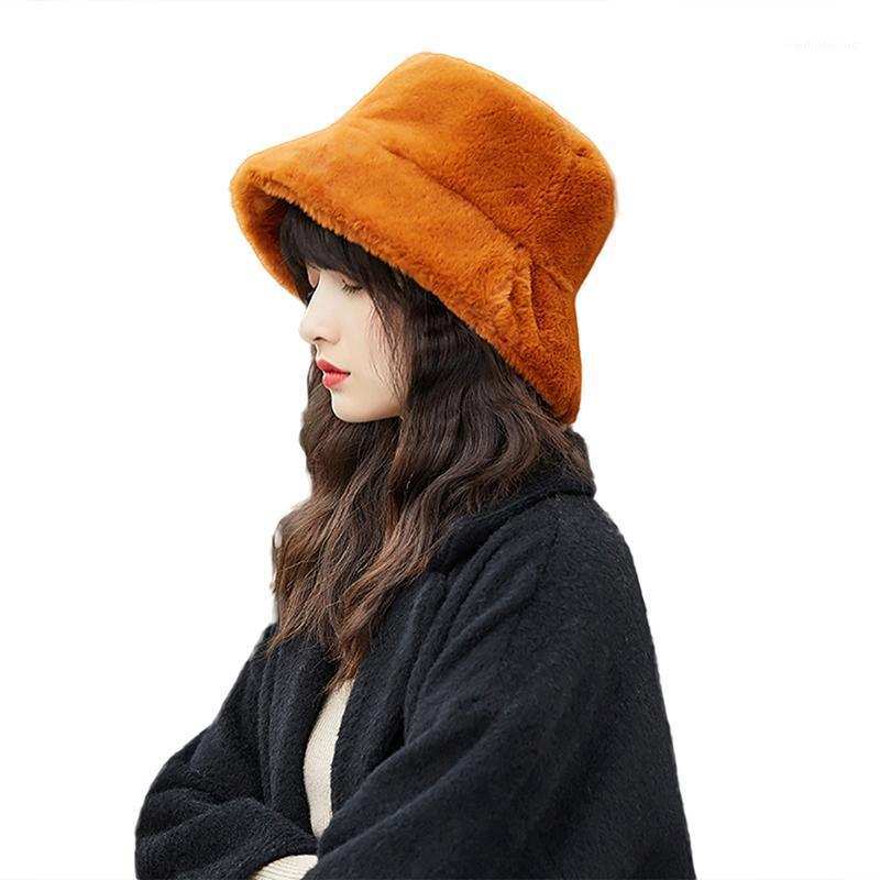 Faux Fur Winter Bucket Hat For Women Girl Fashion Solid Thickened Soft Warm Fishing Cap Vacation Hat Cap Lady Outdoor1