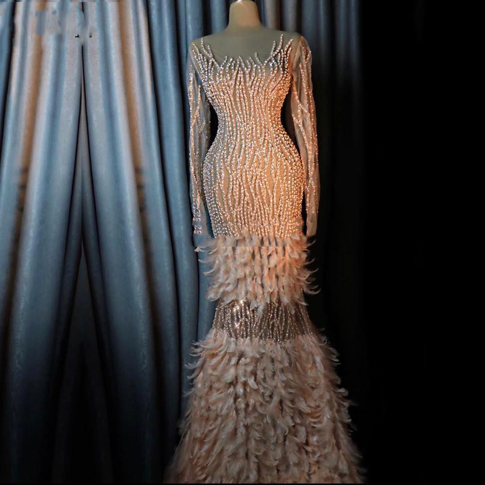 neue arabische robe lange Ärmel dubai illusion abendkleider 2021 perlen  türkische marokkanische kaftans prom kleid kristalle partykleider