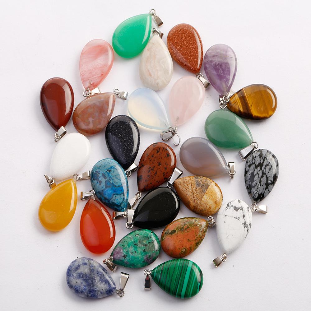 30pcs//lot wholesale natural stone water drop pendants Charms jewelry making