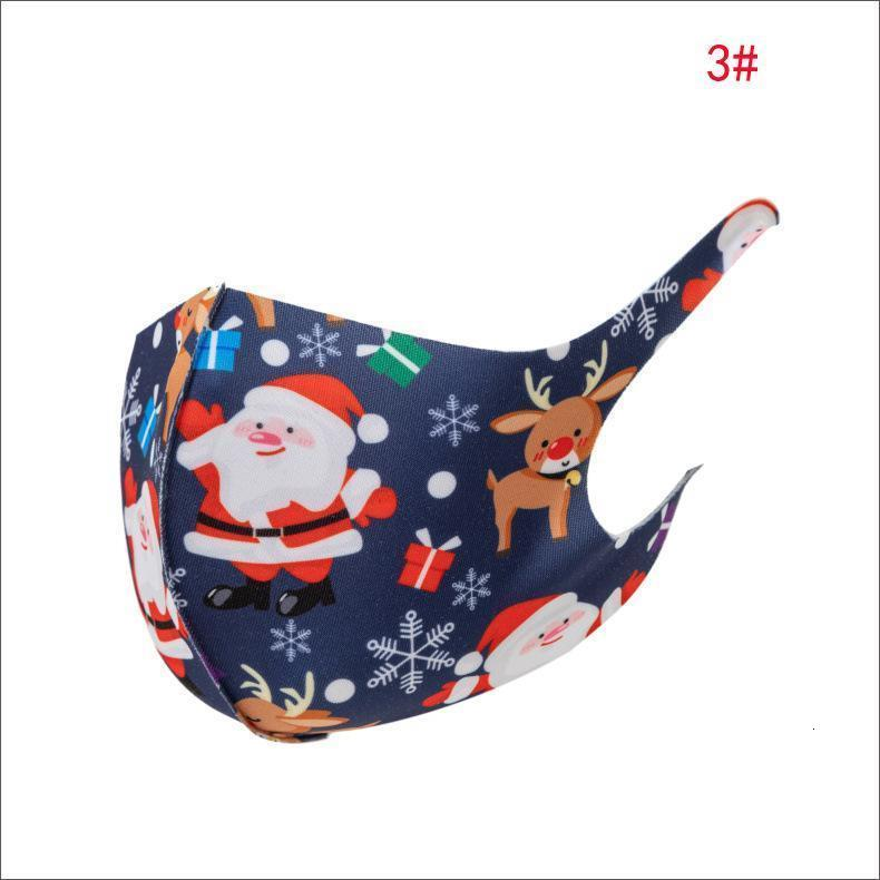 2020 Christmas Fashion Face Mask Dust-proof Breathable Santa Claus Elk Printing Ice Silk Cotton Mask For Men and women Xmas Face