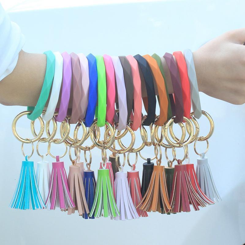 2020 Women Diamond Silicone Bracelets Keychain 17 Styles Wristlet Tassel Key Ring Bracelet Bangle Fashion Keychain Girl Party Gift