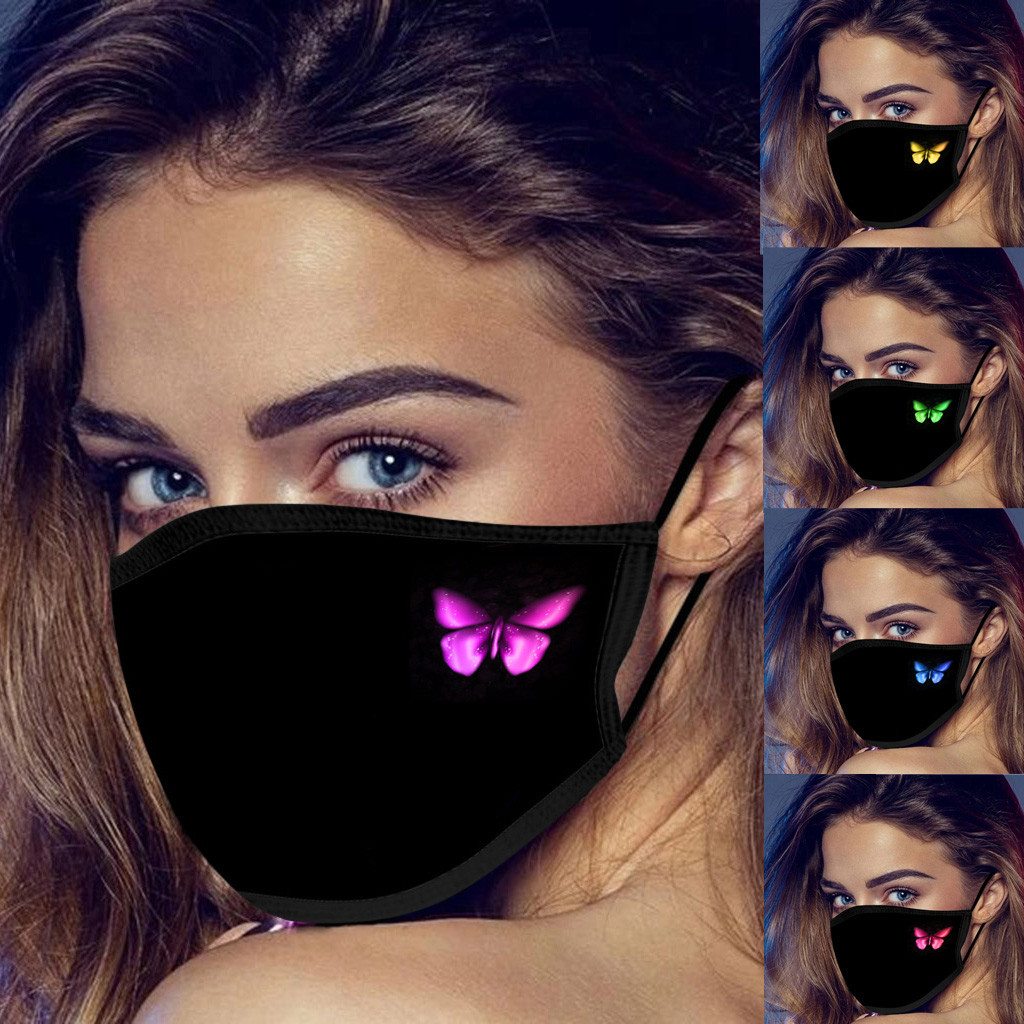 US Stock Adults Designer Face Mask Butterfly Print Breathable Fashion Face masks dust fog Women and Men Cotton Cloth Pure Black facemask