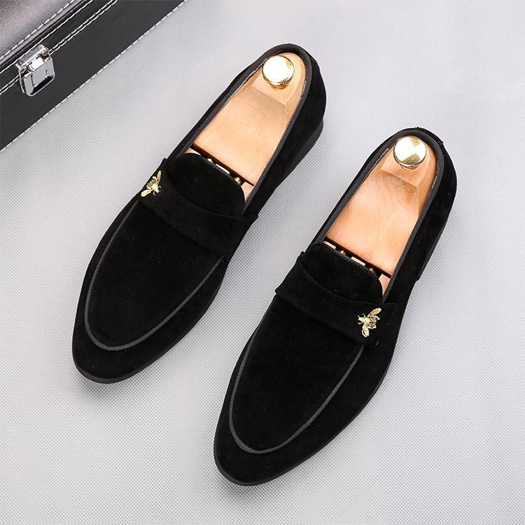 New arrival Designer Men Classic suede embroidery Casual flats Gommino Shoes Oxford gentleman wedding Dress Homecoming Prom loafers 38-44