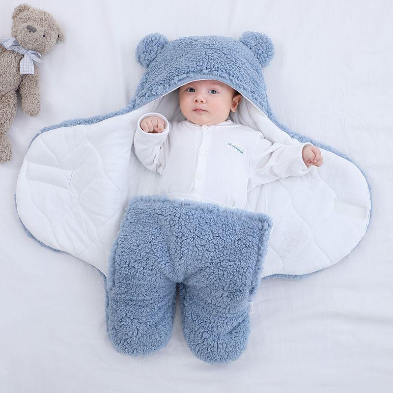 Baby Winter Bedding Newborn Baby Sleeping Bag Soft Plush Blanket Cute Bear Swaddle Wrap Split-legged Baby Bags for Mom