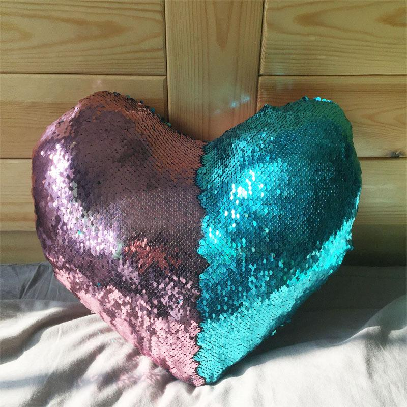 Wholesale heart shaped Sequin Cushion Cover Mermaid Sequin Pillow case Pillow Covers Home Decorative Pillowcase FEDEX/DHL Ship